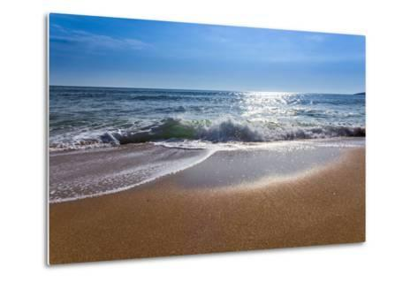 Sand Sea Beach and Blue Sky after Sunrise and Splash of Seawater with Sea Foam and Waves-fototo-Metal Print