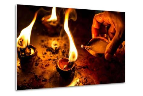 Burning Candles in the Indian Temple during Diwali, The Festival of Lights-Andrey Armyagov-Metal Print