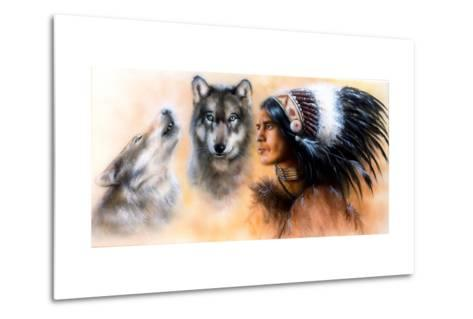 Animals Wolf and Portrait of American Indian in National Dress- JozefArt-Metal Print