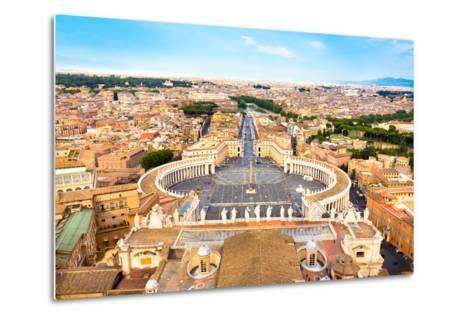 Saint Peter's Square in Vatican, Rome, Italy.-kasto-Metal Print