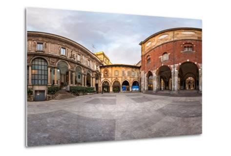 Panorama of Palazzo Della Ragione and Piazza Dei Mercanti in the Morning, Milan, Italy-anshar-Metal Print