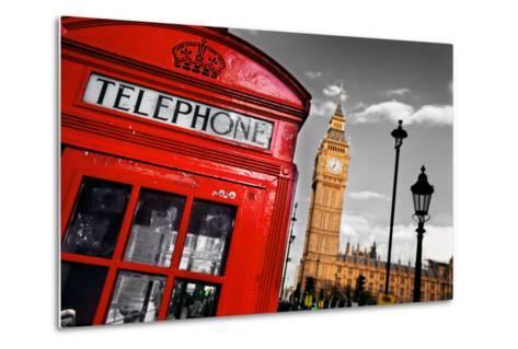 Red Telephone Booth and Big Ben in London, England, the Uk. the Symbols of London on Black on White-Michal Bednarek-Metal Print