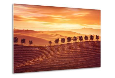 Beautiful Countryside Landscape, Amazing Orange Sunset over Golden Soil Hills, Beauty of Nature, Ag-Anna Omelchenko-Metal Print