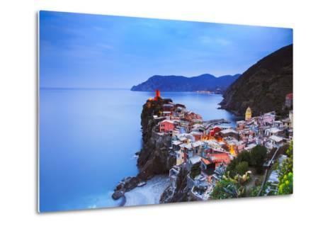 Vernazza Village, Aerial View on Sunset. Cinque Terre, Ligury, Italy-stevanzz-Metal Print