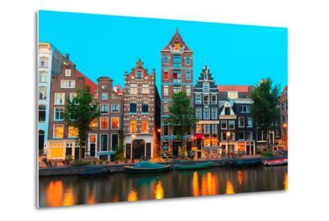 Night City View of Amsterdam Canals and Typical Houses, Holland, Netherlands.-kavalenkava volha-Metal Print