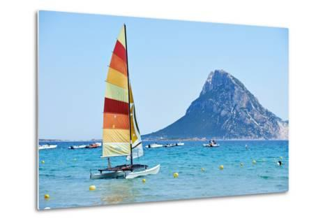 Scenic Italy Sardinia Beach Resort Landscape with Sail Boat and Mountains-kadmy-Metal Print