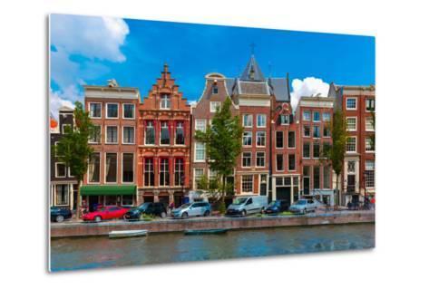 Night Amsterdam Canal with Dutch Houses-kavalenkava volha-Metal Print