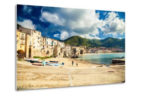 Empty Old Beach of Cefalu, Sicily-anita_bonita-Metal Print