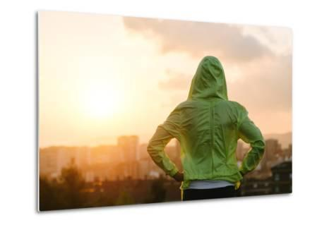 Athlete Looking Sunset over City Skyline after Exercising-Dirima-Metal Print