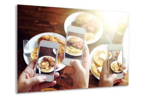 Friends Using Smartphones to Take Photos of Food with Instagram Style Filter-evren_photos-Metal Print