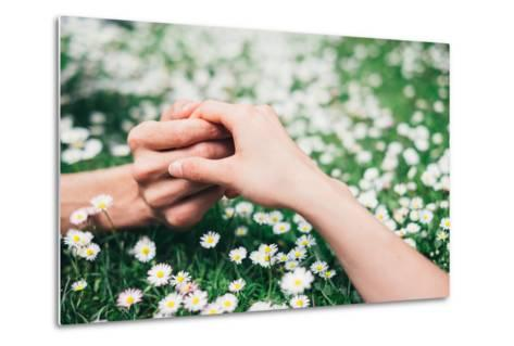 Lovers Holding Hands on Spring Flowers Field-Dirima-Metal Print