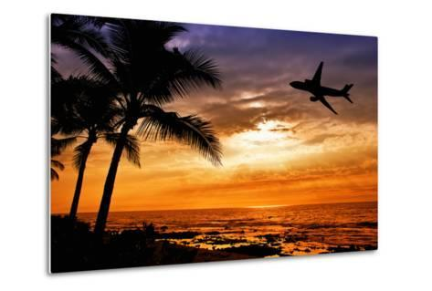 Sunset with Palm Tree and Airplane Silhouettes-krisrobin-Metal Print