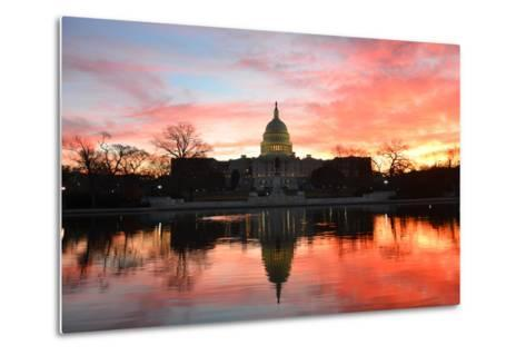 Capitol Building in a Cloudy Sunrise with Mirror Reflection, Washington D.C. United States-Orhan-Metal Print
