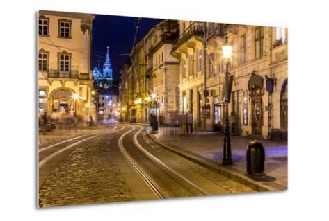 Rynok Square in Lviv at Night-bloodua-Metal Print