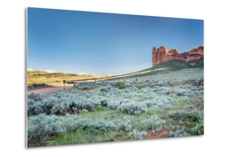 Prairie, Shrubland and Sandstone Rock Formation in Northern Colorado near Wyoming Border - Sand Cre-PixelsAway-Metal Print