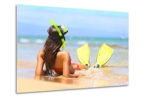 Woman Relaxing on Summer Beach Vacation Holidays Lying in Sand with Snorkeling Mask and Fins Smilin-Maridav-Metal Print