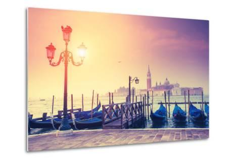 Amazing View of Grand Canal at Sunset with San Giorgio Maggiore Church. San Marco, Venice, Italy, E-Leonid Tit-Metal Print