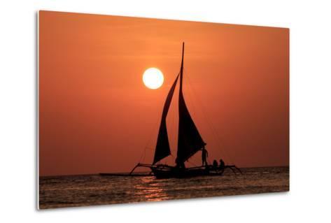 Sailing Boat at Sunset on Sea-Rich Carey-Metal Print