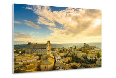 Orvieto Medieval Town and Duomo Cathedral Church Aerial View. Italy-stevanzz-Metal Print