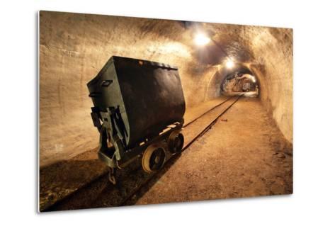 Underground Train in Mine, Carts in Gold, Silver and Copper Mine.-TTstudio-Metal Print