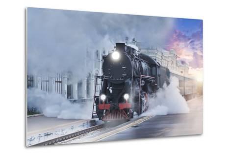 Retro Steam Train.-Breev Sergey-Metal Print