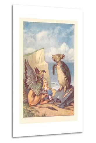 Mock Turtle, Gryphon and Alice--Metal Print