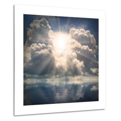 The Sun on Dramatic Sky over Sea-Kletr-Metal Print