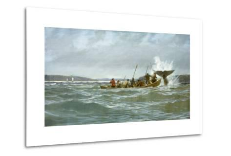 Basque Whalers Attempt to Tow a Wounded Whale Ashore to Newfoundland-Richard Schlecht-Metal Print