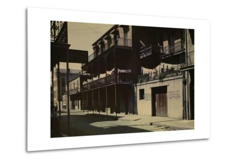 A View of a Street in the French Quarter-Edwin L^ Wisherd-Metal Print