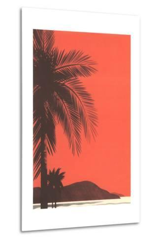Red Sky, Palm Trees--Metal Print