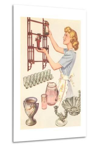Housewife with Wall-Mount Etagere--Metal Print