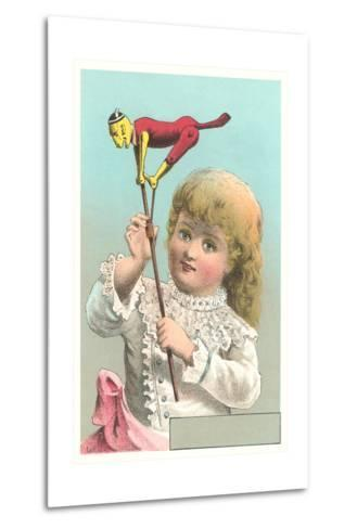 Victorian Girl with Puppet--Metal Print