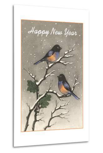 Birds in Snow--Metal Print