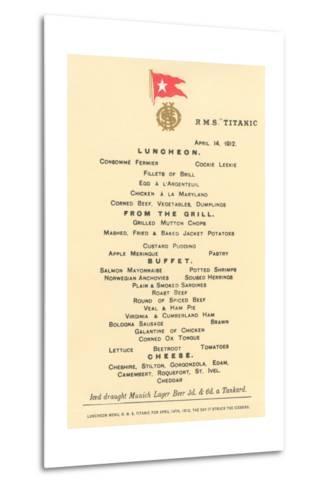 Lunch Menu on the Titanic--Metal Print