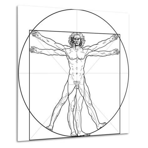 The Vitruvian Man, or Leonardo's Man-Green Ocean-Metal Print