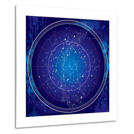 Celestial Map of the Night Sky-Green Ocean-Metal Print