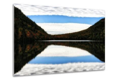 Clouds and Forests in Autumn Colors Reflected in the Calm Surface of a Lake-Robbie George-Metal Print