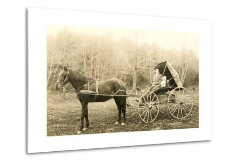 Woman and Child in Buggy--Metal Print