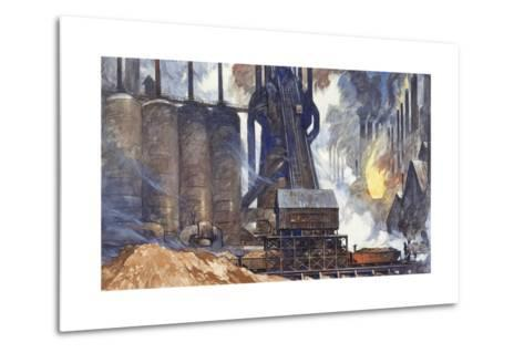 A View of an American Steel Mill and its Smoke Stacks-Thornton Oakley-Metal Print