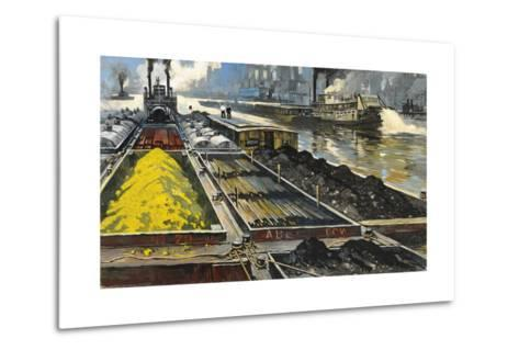 Barges Full of Raw Materials Travel Up and Down the Mississippi River-Thornton Oakley-Metal Print