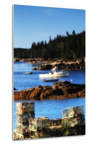 Lobster Traps Stacked on Shore, with Lobster and Row Boats Anchored Offshore-Robbie George-Metal Print