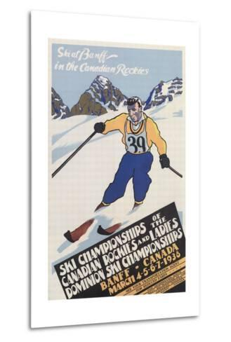 Skiing at Banff, Alberta--Metal Print