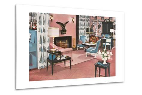 Living Room in Pink--Metal Print
