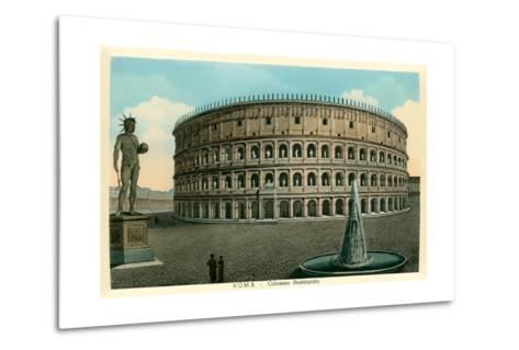 Rome, Italy, Rendering of Restored Coliseum--Metal Print