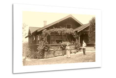 Old People with Craftsman House--Metal Print