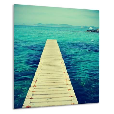 Boardwalk in Ses Illetes Beach in Formentera, Balearic Islands-nito-Metal Print