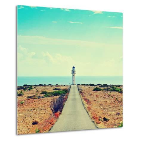 View of Beacon Far De Barbaria in Formentera, Balearic Islands, Spain, with a Retro Effect-nito-Metal Print