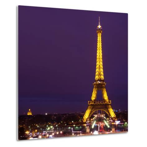 Cityscape Paris with Eiffel Tower at Night - Square Format Photography-Philippe Hugonnard-Metal Print