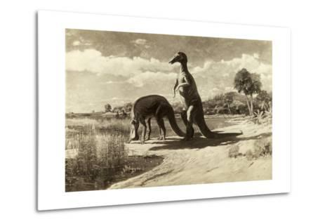 A Painting of Two Dinosaurs with Duck-Like Heads-Charles R. Knight-Metal Print