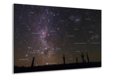 The Southern Sky with a Overlay Indicating Locations of Various Heavenly Bodies-Babak Tafreshi-Metal Print